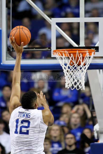 Freshman forward Karl-Anthony Towns lays the ball in during the second half of the University of Kentucky vs. Grand Canyon University men's basketball game at Rupp Arena in Lexington, Ky., on Friday, November 14, 2014 Photo by Jonathan Krueger | Staff