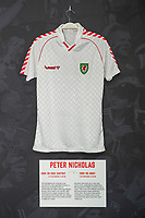 Peter Nicholas' 1988/90 Wales away shirt is displayed at The Art of the Wales Shirt Exhibition at St Fagans National Museum of History in Cardiff, Wales, UK. Monday 11 November 2019