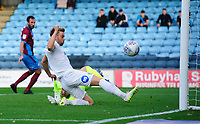 Peterborough United's Matthew Godden scores the opening goal <br /> <br /> Photographer Chris Vaughan/CameraSport<br /> <br /> The EFL Sky Bet League One - Scunthorpe United v Peterborough United - Saturday 13th October 2018 - Glanford Park - Scunthorpe<br /> <br /> World Copyright © 2018 CameraSport. All rights reserved. 43 Linden Ave. Countesthorpe. Leicester. England. LE8 5PG - Tel: +44 (0) 116 277 4147 - admin@camerasport.com - www.camerasport.com