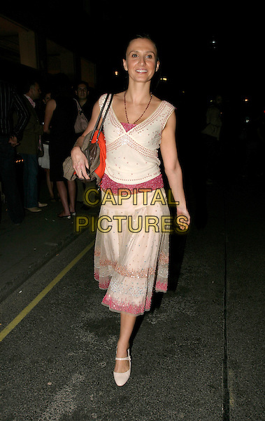 JAYNE MIDDLEMISS.Axm Magazine Summer Party,.Getty Images Gallery,.London, 4th August 2005.full length jane white pink sequin pattern top v-neck mary-jane high heel shoes skirt posed pleated beads handbag.www.capitalpictures.com.sales@capitalpictures.com.© Capital Pictures.