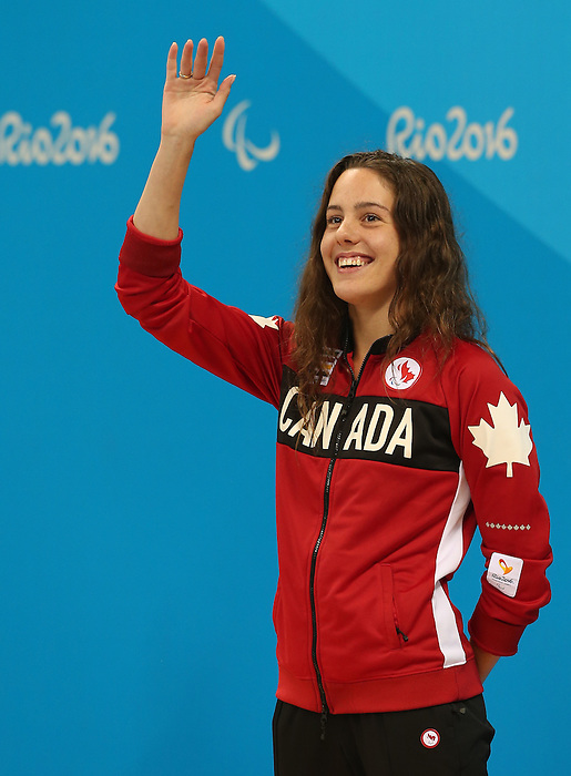 Rio de Janeiro-13/9/2016- Canadian swimmer Aurelie Rivard wins gold in the women's 200m free at the Olympic Aquatic Centre during the 2016 Paralympic Games in Rio. Photo Scott Grant/Canadian Paralympic Committee