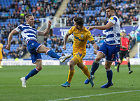 Preston North End's Sean Maguire (centre) battles with with Reading players<br /> <br /> Photographer David Horton/CameraSport<br /> <br /> The EFL Sky Bet Championship - Reading v Preston North End - Saturday 19th October 2019 - Madejski Stadium - Reading<br /> <br /> World Copyright © 2019 CameraSport. All rights reserved. 43 Linden Ave. Countesthorpe. Leicester. England. LE8 5PG - Tel: +44 (0) 116 277 4147 - admin@camerasport.com - www.camerasport.com