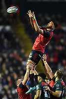 Jean Kleyn of Munster Rugby wins the ball at a lineout. European Rugby Champions Cup match, between Leicester Tigers and Munster Rugby on December 17, 2017 at Welford Road in Leicester, England. Photo by: Patrick Khachfe / JMP