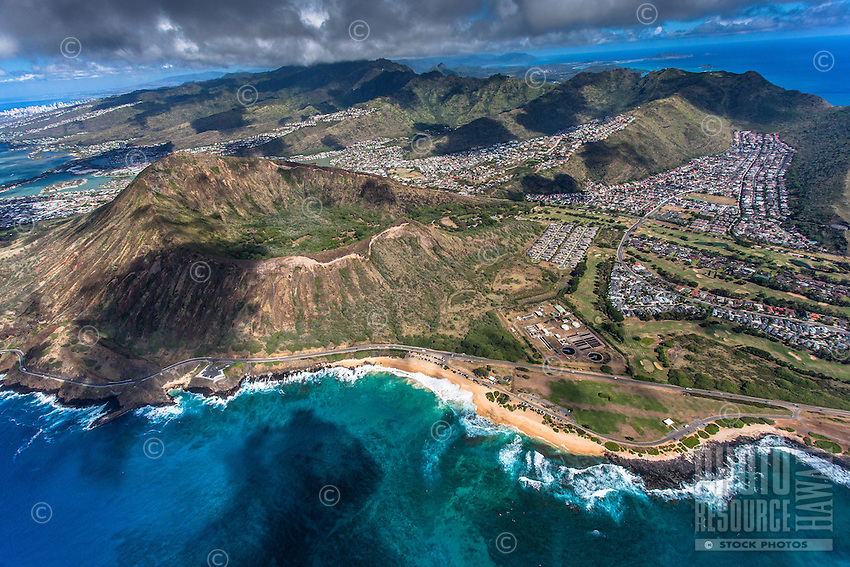 An aerial view of Sandy Beach, Koko Crater and surrounding Hawai'i Kai neighborhood, East O'ahu.