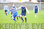 Atletico Ardfert's Shane Griffin and QPR's Aidan Donnelly.