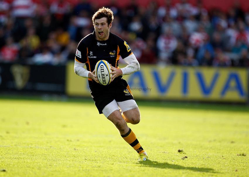Photo: Richard Lane/Richard Lane Photography. Gloucester Rugby v London Wasps. Aviva Premiership. 22/09/2012. Wasps' Elliot Daly attacks.