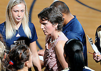 Florida International University women's volleyball Head Coach Danijela Tomic during the game against Western Kentucky University.  Western Kentucky won the match 3-0 on September 30, 2011 at Miami, Florida. .