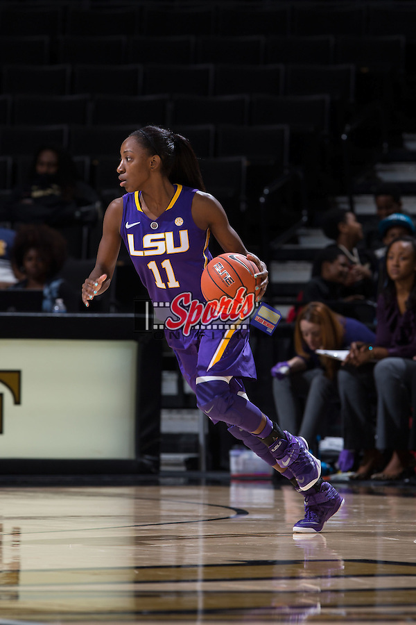 Raigyne Moncrief (11) of the LSU Tigers dribbles the basketball during second half action against the Wake Forest Demon Deacons at the LJVM Coliseum on November 13, 2015 in Winston-Salem, North Carolina.  The Demon Deacons defeated the Tigers 60-57.  (Brian Westerholt/Sports On Film)