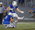 Columbia's Sam Horner kicks as Nic Horner holds for him. Columbia played Mascoutah on Saturday August 31, 2019 in a football game that was never started on Friday night due to bad storms.<br /> Tim Vizer/Special to STLhighschoolsports.com