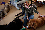 Kathy Bowler poses for a portrait with four of her dogs, from left, Brogan, Quincy, Liam, and Indy, at her home in Sacramento, California, March 17, 2013.