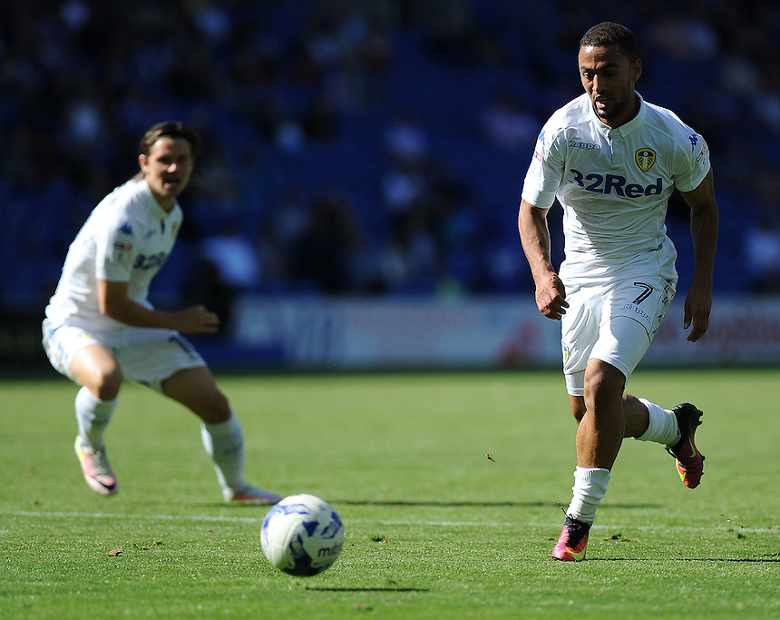 Leeds United's Kemar Roofe in action during todays match  <br /> <br /> Photographer Ashley Crowden/CameraSport<br /> <br /> The EFL Sky Bet Championship - Cardiff City v Leeds United - Saturday 17 September 2016 - Cardiff City Stadium - Cardiff<br /> <br /> World Copyright &copy; 2016 CameraSport. All rights reserved. 43 Linden Ave. Countesthorpe. Leicester. England. LE8 5PG - Tel: +44 (0) 116 277 4147 - admin@camerasport.com - www.camerasport.com