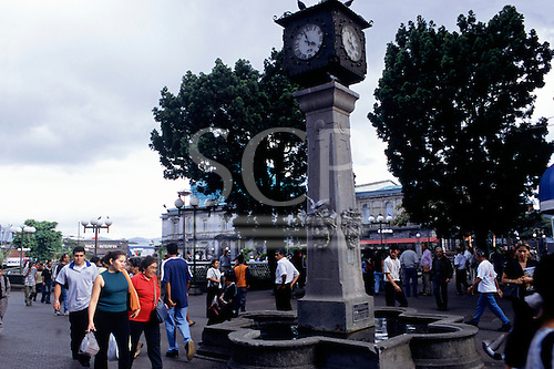 San Jose, Costa Rica. Clock tower in the Plaza de la Cultura.
