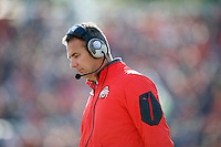 Ohio State Buckeyes head coach Urban Meyer walks up the sidelines against Illinois Fighting Illini in the second half of their game at Memorial Stadium in Champaign, IL on November 14, 2015.  (Dispatch photo by Kyle Robertson)