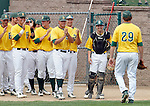 SIOUX FALLS, SD - MAY 24:  Reed Pfannenstein #29 from NDSU comes to the dugout in the ninth inning after pitching 9.1 innings of shutout baseball en route to the Bison winning the Summit League Championship game 9-0 over Western Illinois at the Sioux Falls Stadium.  (Photo by Schyler Eggen/Inertia)