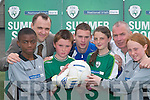 FAI: Launching the FAI Summer Soccer Skills Schools in Killarney Celtics pitch on Tuesday were, l-r: Nzau Kimfuta, Bob Hennessy (National Irish Bank), Alan Brosnan, Peter McCarthy (Limerick 37), Chloe ODoherty, Mike and April Foley..