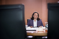 Bundesarbeitsministerin Andrea Nahles (SPD) nimmt am Mittwoch (21.09.16) in Berlin an der Sitzung des Bundeskabinetts teil.<br /> Foto: Axel Schmidt/CommonLens