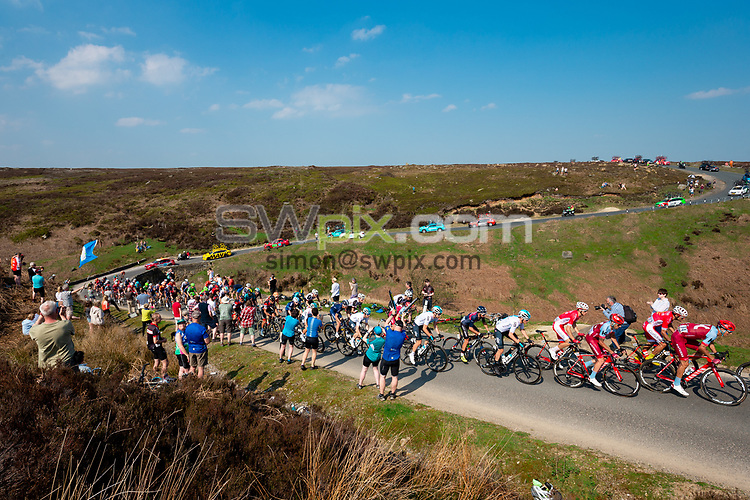 Picture by Alex Whitehead/SWpix.com - 05/05/2018 - Cycling - 2018 Tour de Yorkshire - Stage 4: Halifax to Leeds - The peloton comes down off of the Cote de Greenhow Hill.