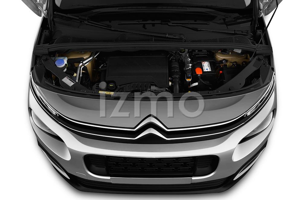 Car stock 2019 Citroen Berlingo Shine 5 Door MPV engine high angle detail view