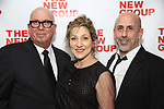 Serge Nivelle, Edie Falco and Scott Elliott during the New Group Annual Gala at Tribeca Rooftop on March 11, 2019 in New York City.