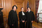 Associate Justices Sonia Sotomayor (left) and Ruth Bader Ginsburg (center) with Associate Justice Elena Kagan in the Justice's Conference Room prior to Justice Kagan's Investiture Ceremony at the U.S. Supreme Court in Washington, D.C. on Friday, October 1, 2010.  .Credit: Steve Petteway - USSC via CNP