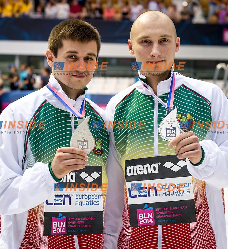 Podium - Silver Medal<br /> BELARUS BLR<br /> KAPTUR Vadim<br /> KARALIOU Yauheni<br /> Diving 10 m Platform Men Final<br /> 32nd LEN European Championships <br /> Berlin, Germany 2014  Aug.13 th - Aug. 24 th<br /> Day08 - Aug. 20<br /> Photo P. Mesiano/Deepbluemedia/Inside
