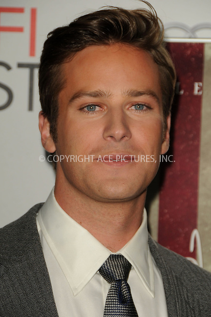 WWW.ACEPIXS.COM . . . . .  ....November 3 2011, LA....Armie Hammer arriving at the AFI FEST 2011 Presented By Audi - 'J. Edgar' Opening Night Gala at Grauman's Chinese Theatre on November 3, 2011 in Hollywood, California.....Please byline: PETER WEST - ACE PICTURES.... *** ***..Ace Pictures, Inc:  ..Philip Vaughan (212) 243-8787 or (646) 679 0430..e-mail: info@acepixs.com..web: http://www.acepixs.com