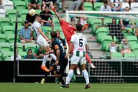 GRONINGEN - Voetbal, FC Groningen - Werder Bremen, voorbereiding seizoen 2018-2019, 29-07-2018, FC Groningen speler Jeffrey Chabot maakt het doelman Jiri Pavlenka lastig