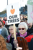 Residents gather en mass to protest at the felling of the trees on Rustlings Road, Sheffield, United Kingdom, 26th November 2016. Photo by Glenn Ashley.