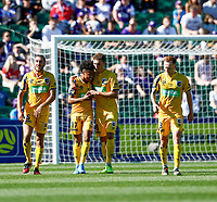3rd November 2019; HBF Park, Perth, Western Australia, Australia; A League Football, Perth Glory versus Central Coast Mariners; Samuel Silvera of the Central Coast Mariners is congratulated by team mates after scoring in the 45th minute - Editorial Use
