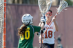 Santa Barbara, CA 02/13/10 - Clayton Crum (Texas #18) and Evon Goldsmith (Oregon #00) in action during the Texas-Oregon game at the 2010 Santa Barbara Shoutout, Texas defeated Oregon 11-9.