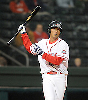 April 3, 2008: Che-Hsuan Lin (24) of the Greenville Drive, Class A affiliate of the Boston Red Sox, hits during the season opener against the Kannapolis Intimidators at Fluor Field at the West End in Greenville, S.C. Photo by:  Tom Priddy/Four Seam Images