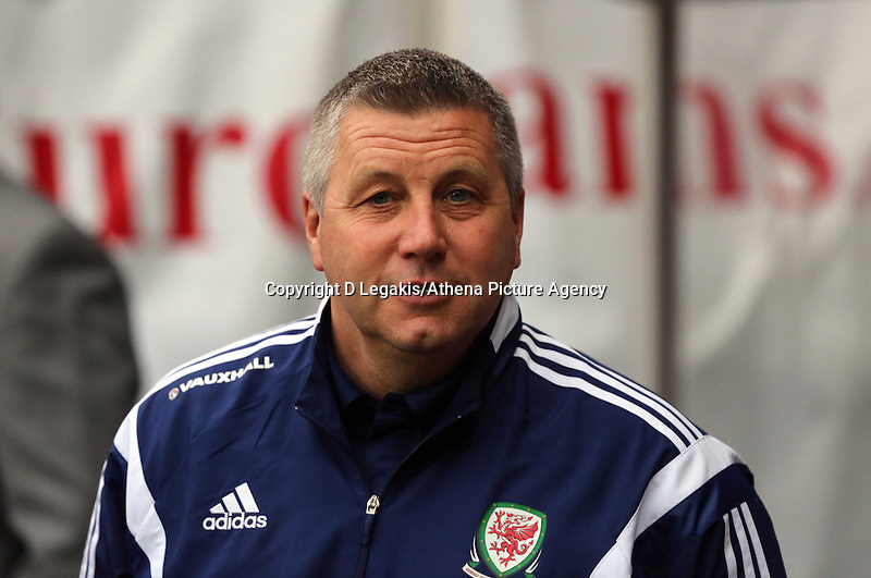 Pictured: U21 Wales manager Geraint Williams. Monday 19 May 2014<br /> Re: UEFA Euro Under-21 Qualifier, Wales v England at the Liberty Stadium, Swansea, south Wales, United Kingdom