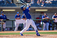 Rancho Cucamonga Quakes Connor Wong (33) follows through on his swing against the Lake Elsinore Storm at LoanMart Field on April 22, 2018 in Rancho Cucamonga, California. The Storm defeated the Quakes 8-6.  (Donn Parris/Four Seam Images)