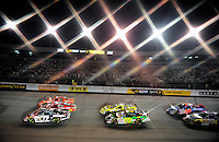 May 1, 2009; Richmond, VA, USA; (Editors Note: Special effects filter used in creation of this image) NASCAR Nationwide Series drivers race through turn one during the Lipton Tea 250 at the Richmond International Raceway. Mandatory Credit: Mark J. Rebilas-