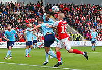 Accrington Stanley's Michael Ihiekwe gets a head to a cross before Fleetwood Town's Paddy Madden can reach it<br /> <br /> Photographer Alex Dodd/CameraSport<br /> <br /> The EFL Sky Bet League One - Fleetwood Town v Accrington Stanley - Saturday 15th September 2018  - Highbury Stadium - Fleetwood<br /> <br /> World Copyright &copy; 2018 CameraSport. All rights reserved. 43 Linden Ave. Countesthorpe. Leicester. England. LE8 5PG - Tel: +44 (0) 116 277 4147 - admin@camerasport.com - www.camerasport.com