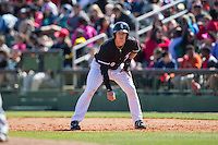 Casey Schroeder (10) of the Kannapolis Intimidators takes his lead off of first base against the Delmarva Shorebirds at Kannapolis Intimidators Stadium on April 13, 2016 in Kannapolis, North Carolina.  The Intimidators defeated the Shorebirds 8-7.  (Brian Westerholt/Four Seam Images)