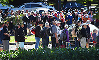 Fans queue to get to get into Hagley oval.<br /> New Zealand Blackcaps v England. 5th ODI International one day cricket, Hagley Oval, Christchurch. New Zealand. Saturday 10 March 2018. &copy; Copyright Photo: Andrew Cornaga / www.Photosport.nz