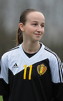 20160211 - TUBIZE , BELGIUM : Belgian Sari Kees pictured during the friendly female soccer match between Women under 17 teams of  Belgium and Switzerland , in Tubize , Belgium . Thursday 11th February 2016 . PHOTO SPORTPIX.BE DIRK VUYLSTEKE