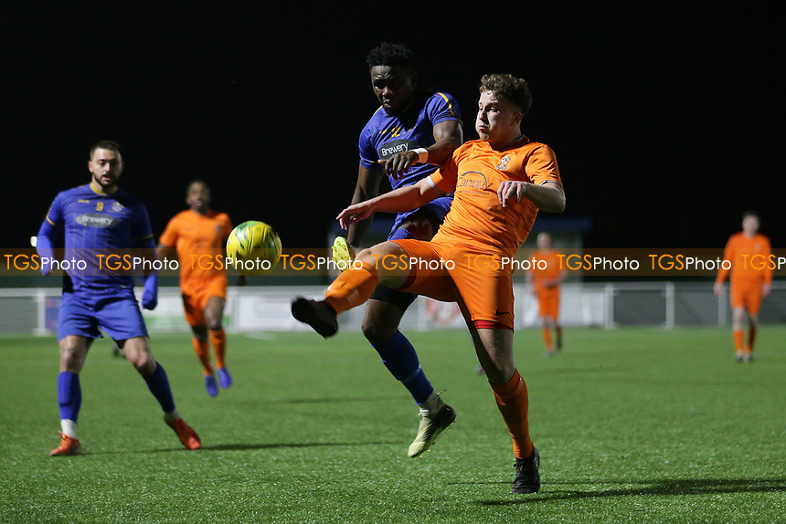 Lheureux Menga of Romford and Jack Kemsley of Brentwood during Romford vs Brentwood Town, BetVictor League North Division Football at Parkside on 11th February 2020