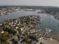 Aerial view of Rocky Neck, low tide, Gloucester, Cape Ann, Mass