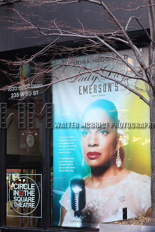 "Theatre Marquee for Audra McDonald starring in ""Lady Day at Emerson's Bar & Grill"" at Circle in the Square Theatre on April 6, 2014 in New York City."