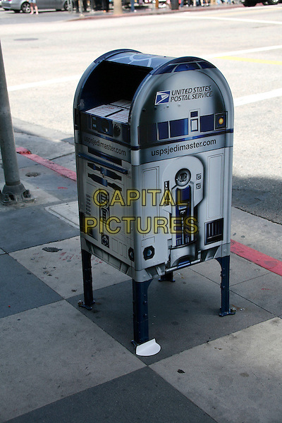 UNITED STATES POSTAL SERVICE R2D2 MAILBOX.In honor of Star Wars' 30th Anniversary at the corner of Hollywood Blvd and Orange Dr., Hollywood, California, USA..April 28th, 2007.USPS post postbox mail.CAP/ADM/BP.©Byron Purvis/AdMedia/Capital Pictures