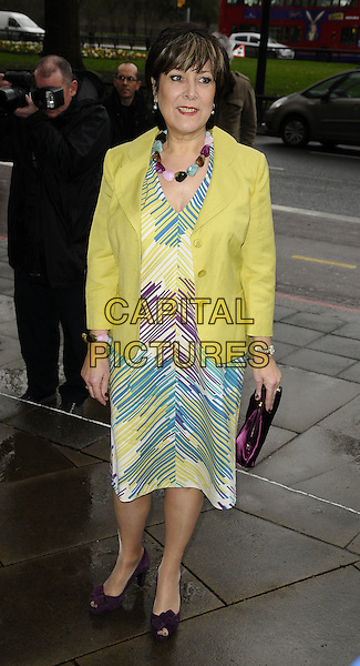 LYNDA BELLINGHAM.The Television and Radio Industries Club (TRIC) Awards at the Grosvenor House Hotel, Park Lane, London, England.  .March 10th, 2009.full length linda blue white yellow purple striped stripes pattern dress jacket green clutch bag purple platform .CAP/CAN.©Can Nguyen/Capital Pictures