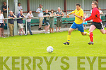 Noel Lane (Asdee) in action with Ryan Keane (Killorglin) in the Denny's Premier B final at Mounthawk Park, on Sunday.