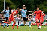 HAREN - Voetbal, FC Groningen - Real Sociedad, voorbereiding seizoen 2017-2018, 02-08-2017,  FC Groningen speler Lars Veldwijk  wordt vastgehouden door  Llorente