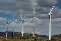 Windmills off Highway 62 in California turning in a very high wind