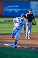 Chris Roller (41) of the Ogden Raptors circles the bases after hitting a home run against the Grand Junction Rockies at Lindquist Field on June 25, 2018 in Ogden, Utah. The Raptors defeated the Rockies 5-3. (Stephen Smith/Four Seam Images)