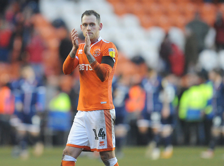 Blackpool's Harry Pritchard applauds the fans at full time<br /> <br /> Photographer Kevin Barnes/CameraSport<br /> <br /> The EFL Sky Bet League One - Blackpool v Walsall - Saturday 9th February 2019 - Bloomfield Road - Blackpool<br /> <br /> World Copyright &copy; 2019 CameraSport. All rights reserved. 43 Linden Ave. Countesthorpe. Leicester. England. LE8 5PG - Tel: +44 (0) 116 277 4147 - admin@camerasport.com - www.camerasport.com