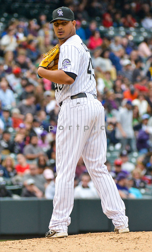 Colorado Rockies Jhoulys Chacin (45) during a game against the Tampa Bay Rays on May 5, 2013 at Coors Field in Denver, CO. The Rays beat the Rockies 8-3..