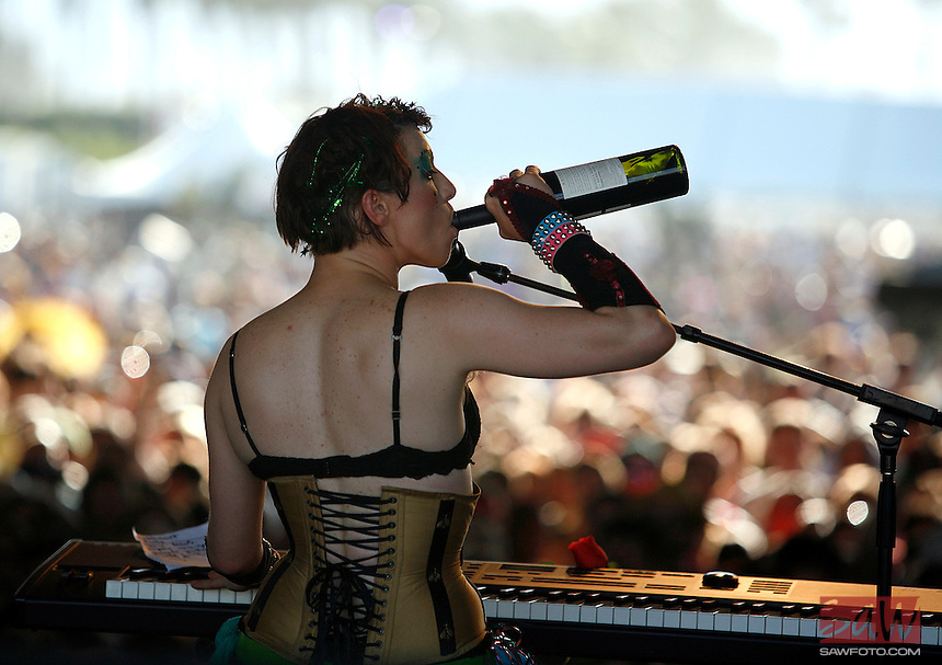 COACHELLA,CA - APRIL18,2009: Amanda Palmer has a refreshment during her performance at  Coachella Valley Music and Arts Festival Saturday, April 18, 2009. 147717.CA.0418.coachella